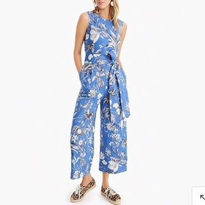 Linen wrap-back jumpsuit in Ratti® tropical toile